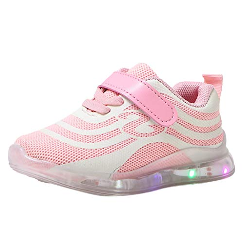 Kids Boys Girls LED Light up Mesh Breathable Running Luminous Shoes Hook and Loop Sneaker Pink