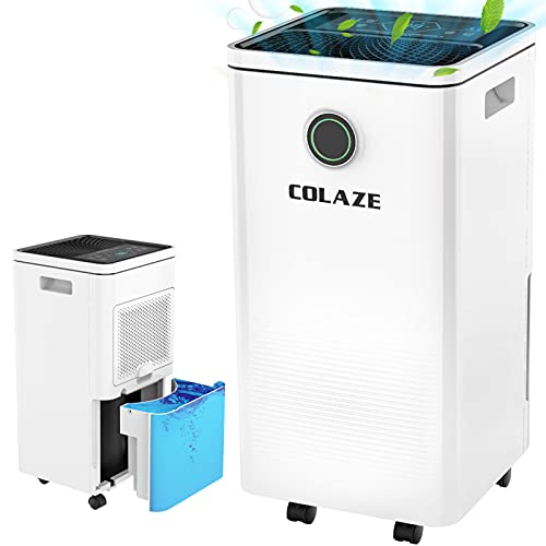 COLAZE 35 Pints 2000 Sq. Ft Dehumidifier for Home Basements Bedroom Garage with 6.56 ft Drain Hose, Three Colors Humidity Indicator, Auto Defrost, Drying Clothes Dehumidifier with 0.66 Gallon Water Tank Capacity