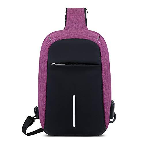 SQB Brusttasche, Männertasche, Schulter-Schultertasche, Ladebuchse, Freizeittasche, Canvas schräger Rucksack, Koreanische Outdoor-Sporttasche, Violett