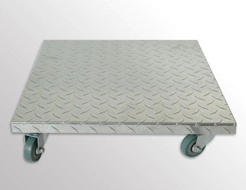 Möbelroller/Pflanzenroller (Profi) 40x40 cm, Alu, 150 kg, PU-Rolle, Marke: Szagato, Made in Germany (Design-Pflanzenroller Transportroller Rollbrett)