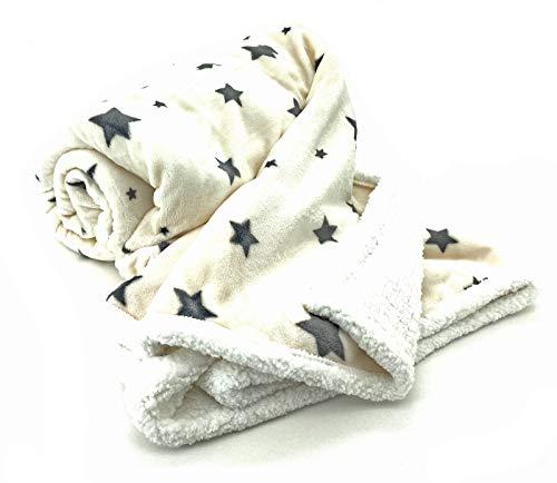 heimtexland ® Soft Touch Kuscheldecke Sterne Sherpa Plüsch XL 200x150 Ökotex Fell Decke Creme Typ718