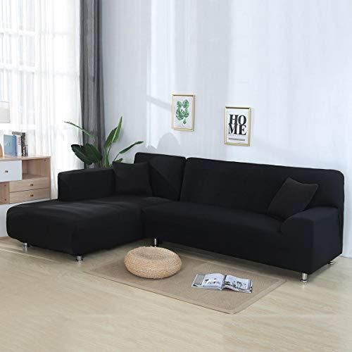 Volwco Sofabezug, L-Form, 2 Stück, einfarbig, Sofabezug, 3-Sitzer, Stretch Sofa, Schonbezüge mit 16 Schaumstoffstäbchen, universell dehnbar, Polyester-Gewebe Schwarz