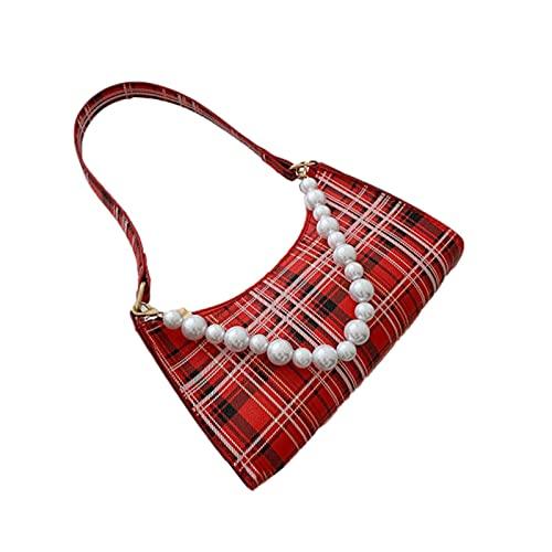 Borse da donna scozzesi retrò Borse a tracolla piccole da donna con catena di perle vintage Borse da donna eleganti sotto le ascelle Y2k Zaino da ragazza di moda Borsa con collana di perle