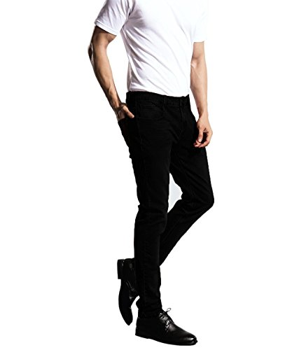 ZLZ Slim Fit Jeans, Men's Younger-Looking Fashionable Colorful Super Comfy Stretch Skinny Fit Denim Jeans (36, Black)