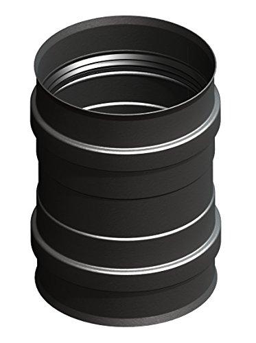 Pellepijp ketelaansluiting met dubbele mof, Ø 80 mm of 100 mm, voor de pelletkachel; met steekverbindingen; roestvrij staal in zwart gelakt, gietijzgrijs gelakt of ongelakt Ø 80mm Kesselanschluss zwart gelakt