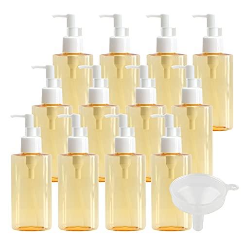 TIANZD 24 Piezas Oval Botella Dosificador Vacías de 120ml Pet Translúcido Amarillo con Bomba Dispensador de Botellas de Loción Envase Cosmético para Jabón de Emulsión Gel de Ducha con Embudo