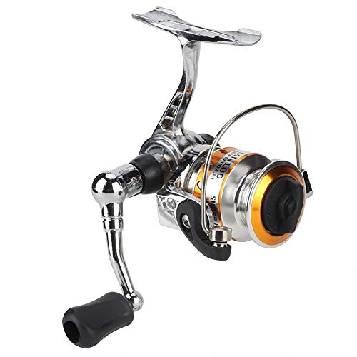 Keenso Mini Angelrolle, Mini Angelrolle Wirbel Links/rechts Metall Eisfloß Rock Fish Spinning Reel(Silberfarben)