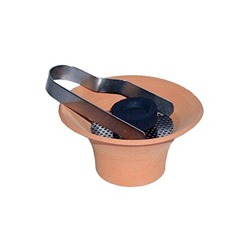 Vasija incensario de terracota con inserto de acero inoxidable y pinzas de carbono; recipiente estable y conveniente para fumar, Ø 10 cm aprox. / Altura, aprox. 5,7 cm.