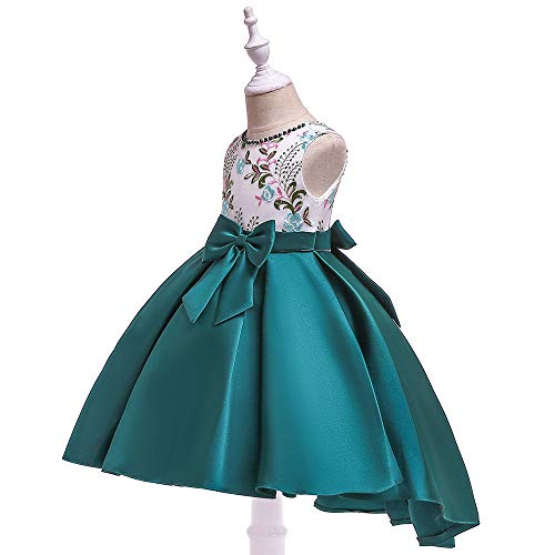 Satin Bogen Abschlussball Prinzessin Sommer Mädchen Kinder Party Formale langes Kleid rot...