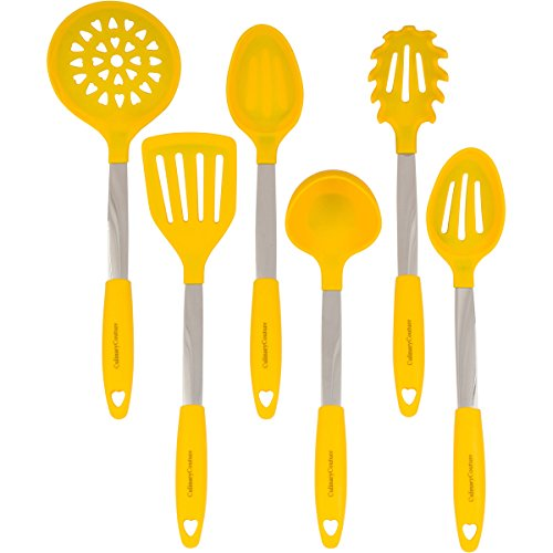 Yellow Kitchen Utensil Set - Stainless Steel & Silicone Heat Resistant Professional Cooking Tools - Spatula, Mixing & Slotted Spoon, Ladle, Pasta Fork Server, Drainer - Bonus Ebook