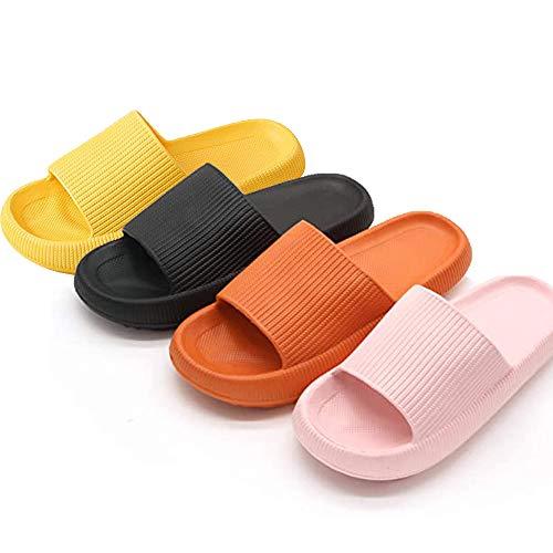 Gsdxz Pillow Slides Sandals Ultra-Soft Slippers Extra Soft Cloud Shoes Anti-Slip (Black, 7.5-8)