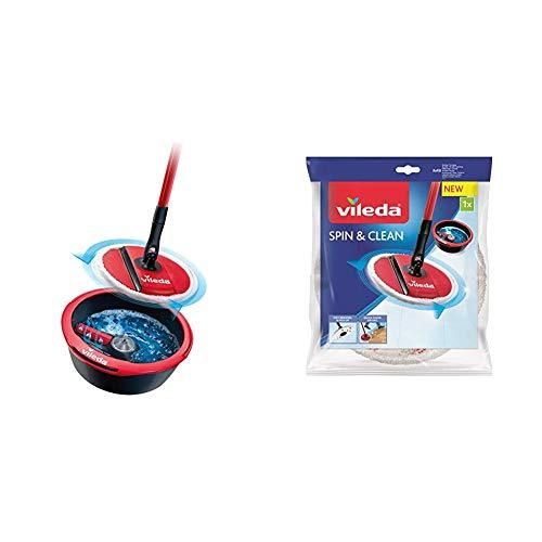 Vileda Spin & Clean Sistema Lavapavimenti con 2 Panni Ricambio SpinMop