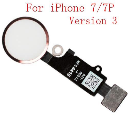 XcellentFixParts Reemplazo Home Button Main Key para iPhone 7/7 Plus 8/8 Plus Botón de Retorno con Conjunto de Cable Flexible (Rosegold 3.0)