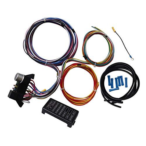 Rouku Arnés de cableado Universal de 12 circuitos para el músculo del Coche Hot Rod Street Rod XL Cables para Cables duraderos SI-AT52001