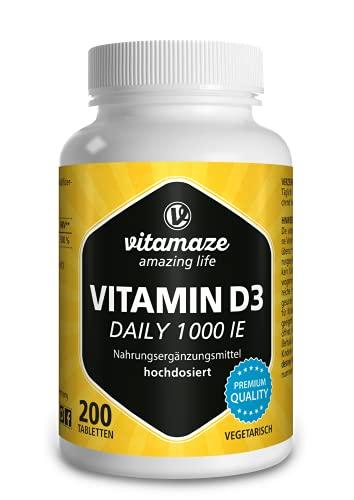 Vitamaze® Vitamina D3 1000 UI de Alta Dosis, 200 Tabletas Vegetarianas para Suministro Continuo, 25 mcg de Colecalciferol Puro, Vitamin D Pastillas para Mujer y Hombre, sin Aditivos Innecesarios