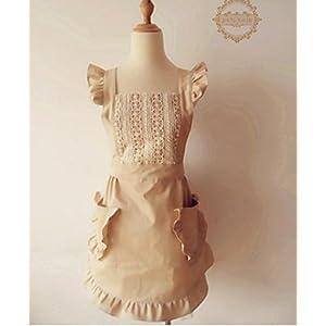 (ミワトモ)MIWATOMOかわいい フリル レース 高級 エプロン ドレス おしゃれ 上品 結婚お祝い 女性用 ギフト (ベージュ)