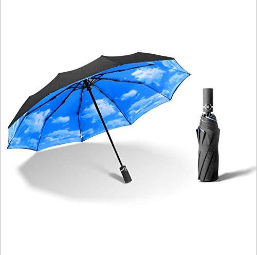 Wensistar golf UV-zonnescherm, extra groot, volautomatisch, opvouwbaar, voor winkels, klassieke parasol met strepen @ Black C_107 cm, compacte reis-parasol