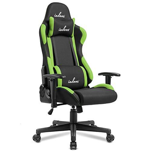 IODOOS ゲーミングチェア 布地 gaming chair パソコンチェア 上下昇降 180度リクライニング ランバーサポート付き 肘掛付き 通気性抜群C