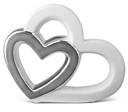 Stilvolles Herz zur Dekoration - Deko Figur aus Keramik in Herzform 16cm - modernes Dekoherz weiß & Silber - Keramikherz als Deco - Herzen gut als Geschenk geeignet