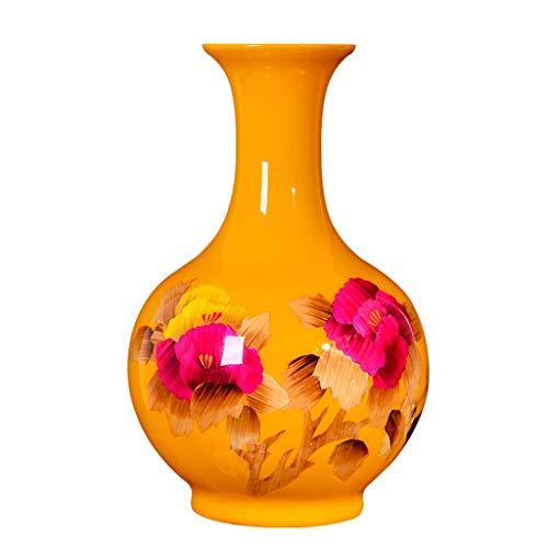 YSMLL Cerámica Amarillo Tallo de Trigo Arreglo de Flores Secado Flower Sala de Estar Decoración Nueva Entrada China Entrada Vino Armario de decoración Artesanía