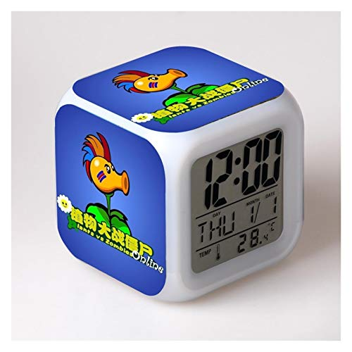 yywl Reloj Despertador Niños Reloj de Alarma Cambio de Color LED Reveil Wake Up Light Scrapation Electrónico (Color : 18)