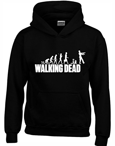 Crown Designs Walking Dead Evolution Emission de Television Zombie Inspiree Sweats a Capuche Unisexe pour Hommes Femmes Et Adolescents - Noir/Moyen