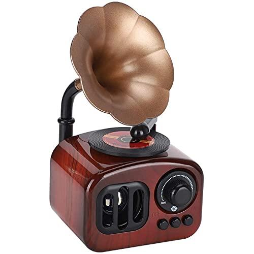 OUUUKL Caja de música Vintage, Caja de Música con Manivela de Mano, Cajas Creativas para Decoración del Hogar Caja de música en Forma de fonógrafo para Adornos de decoración de Escritorio
