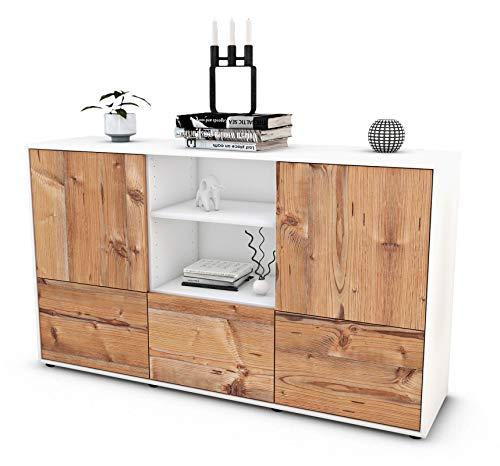 Stil.Zeit Sideboard Diellza/Korpus anthrazit matt/Front Holz-Design Pinie (136x79x35cm) Push-to-Open Technik