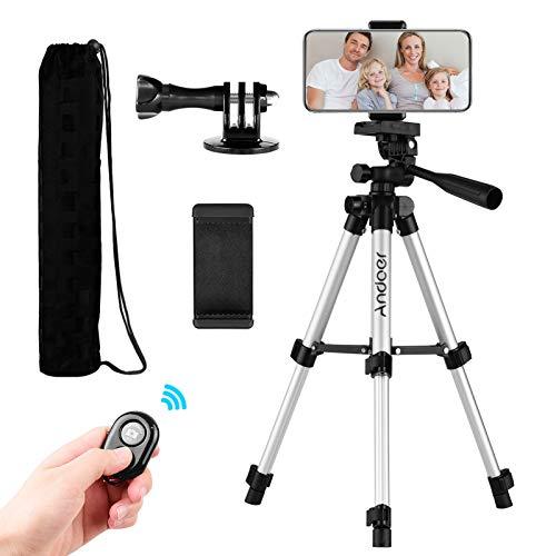 Andoer Lightweight Camera Tripod 21cm-65cm with Remote Shutter, Phone...