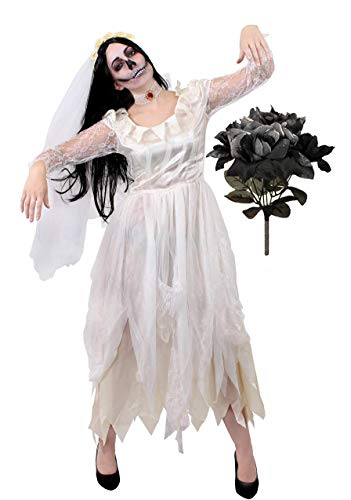 I LOVE FANCY DRESS LTD GEISTERBRAUT KOSTÜM FÜR Damen - Halloween Leiche Braut KOSTÜM ZERLUMPTES WEIẞES HOCHZEITSKLEID + GEFÄLSCHTE Schwarze Rosen - PERFEKT FÜR Halloween ODER Horror-Partys (XX-GROẞ)