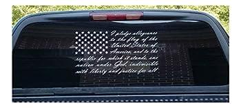 American Flag Pledge of Allegiance Vinyl Truck Window Sticker Decal  10 x20