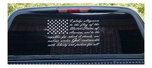"""American Flag Pledge of Allegiance Vinyl Truck Window Sticker Decal (7""""x10"""")"""