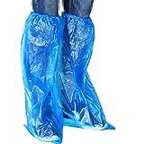 Minkissy 100 Piezas de Calzado Largo Cubre Botas de Lluvia Desechables Impermeables Antideslizantes Botas de Lluvia Cubre Cubrebotas de Plástico Protector de Zapatos Azul
