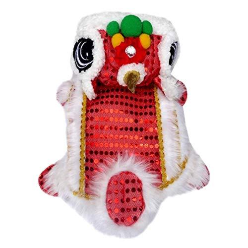 FORHOME Grappige Hond Kleding Nieuwjaar Huisdier Chinese Kostuum Draak Dans Leeuw Hond Kleding Chinese Stijl Nieuwjaar Draak Dans, S