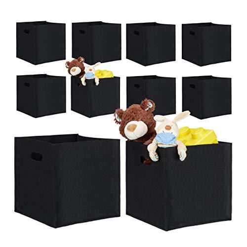 10er Set quadratische Filzkörbe, faltbar, mit 2 Trageöffnungen, schicke Regalkörbe, H x B x T: 30 x 30 x 30 cm, schwarz