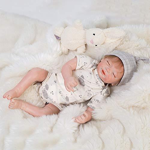 Nicery Reborn Baby Doll Muñeca Renacida Vinilo de Silicona de Simulación Suave 20 Pulgadas 50cm Boca Realista Vivo Niño Niña Juguete Ojos Cerrado RD50C022C-OTD