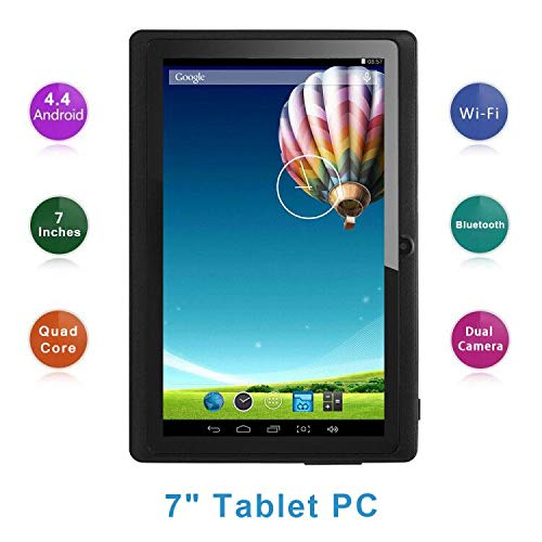 Haehne 7 Inch Tablet PC, Google Android 4.4 Quad Core, 512MB RAM 8GB ROM, Dual Cameras, Capacitive Touch Screen, WiFi, Bluetooth, for Adult Kids, Black