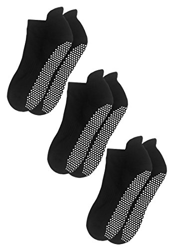 RATIVE Anti Slip Non Skid Barre Yoga Pilates Hospital Socks with grips for Adults Men Women (Large, 3-Pair/Black)