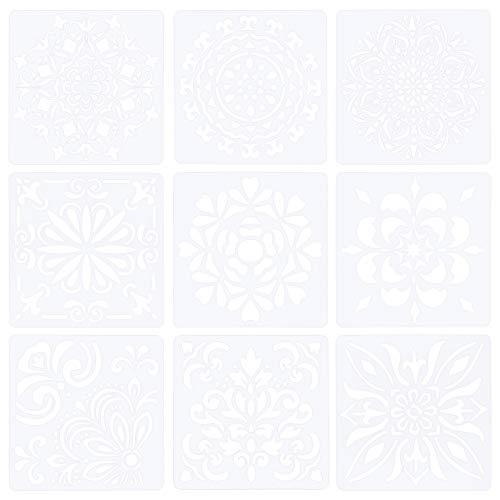 WANDIC Plantilla de pintura, 9 piezas, grande, reutilizable, diseño de mandala, de plástico, de forma cuadrada, para decoración de paredes, arte, 30 x 30 cm