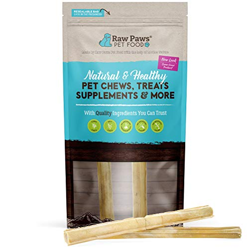 Raw Paws Pet Premium 10-inch Compressed Rawhide Sticks for Dogs, 2-Count - Packed in The USA - Natural Beef Hide Dog Chews - Rawhides for Medium Dogs and Large Dogs - Safe Pressed Rawhide Rolls