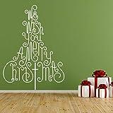 HULINJI Árbol de Navidad - Adhesivo de vinilo autoadhesivo'We Wish You A Merry Christmas' para paredes, ventanas y espejos