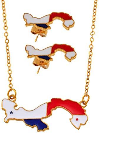 ZGYFJCH Co.,ltd Collar Mapa de Panamá Collares Pendientes Pendientes Conjuntos de Joyas para Mujeres Chica Tarjetas panameñas Joyas Regalo de Fiesta