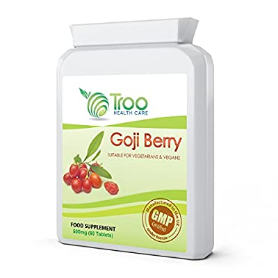 Goji Berry 500mg (25mg 20:1 Extract) 60 Tablets - UK Manufactured with High Grade Himalayan Goji Berry Extract to Support Healthy Immune Sytem, Healthy Liver & Kidney Function, Healthy Vision & Healthy Cardiovascular Function