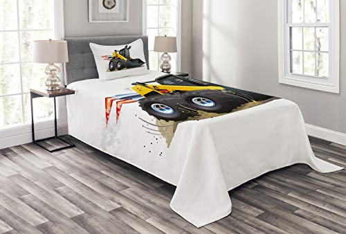 Lunarable Nursery Bedspread, Cool Construction Vehicle Cartoon Bulldozer Skid Steer Nitro Speed Off Road, Decorative Quilted 2 Piece Coverlet Set with Pillow Sham, Twin Size, Yellow Black