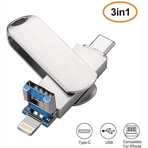 APPLL 32GB -128GB 3-in-1 USB-Flash-Laufwerk, Speicherspeichererweiterung USB Stick kompatibel für iPhone, Android, Windows-(32GB-128GB),128g