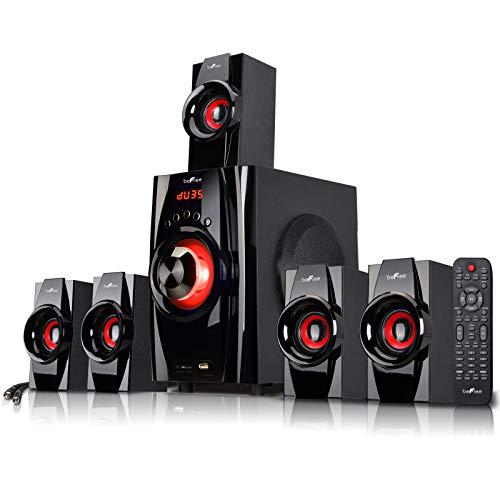 Be Free Sound 5.1 Channel Surround Sound Bluetooth Speaker System- Red