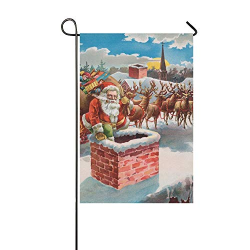 Enhusk Home Decorative Outdoor Double Sided Santa Reindeer Sleigh On Roof Top Garden Flag,house Yard Flag,garden Yard Decorations,seasonal Welcome Outdoor Flag 12 X 18 Inch Spring Summer Gift