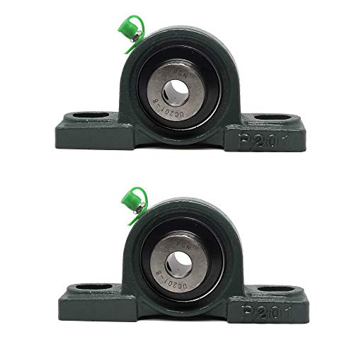 """PGN - UCP201-8 Pillow Block Mounted Ball Bearing - 1/2"""" Bore - Solid Cast Iron Base - Self Aligning (2 Pack)"""
