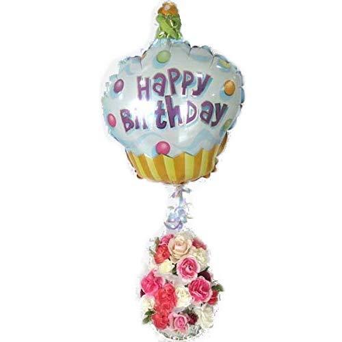【誕生日のお祝いに】バルーンフラワー・3段フラワーケーキ (ホワイト&ピンク)