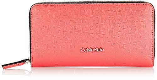 Calvin Klein Ck Must Ziparound Wallet Lg Cav - Portafogli Donna, Rosso (Coral), 1x1x1 cm (W x H L)